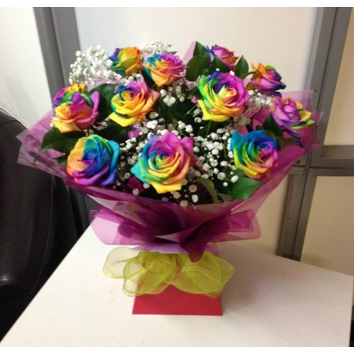 12 Rainbow Rose bouquet