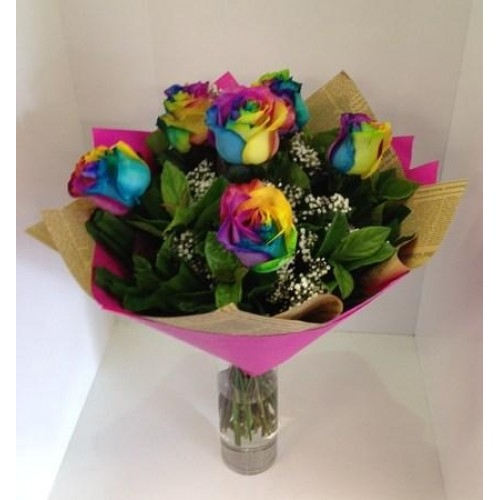 6 Rainbow Rose Vase Arrangement