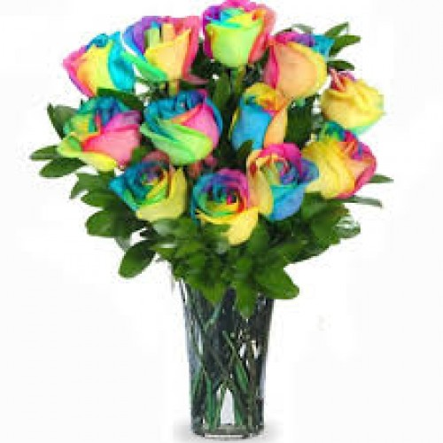 12 Rainbow Rose Vase Arrangement